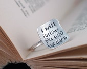 Square Ring in Silver  - Custom Hand Stamped - Death Cab for Cutie - Statement Making - recycled and ecofriendly design