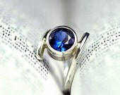 Blue Sapphire Engagement Ring - Recycled Sterling Silver - September Birthstone  - Unique Artisan Setting