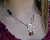 Boho necklace - mixed metal - gemstones - eclectic - Gypsy Necklace - for the artist - Copper and Recycled Silver and Gemstones