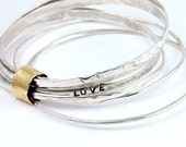 Stacking Bangle Bracelet - Bangles - Stacking Bracelets - Love - Silver and Gold - Luxe Jewelry - Handcrafted - Artisan - Eco Friendly B1036