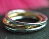 Stacking Rings Silver - Silver Stacking Rings - Skinny Stacking Rings - Stacking Rings - Mixed Metal Rings - Gold Rings - Stacking Set R4015
