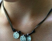 Mom Necklace - Leather and Silver - Custom Personalized - Recycled and EcoFriendly - for the Hip and Trendy mom