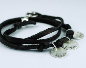Mom Bracelet - Leather Wrap Bracelet - Sterling Silver Personalized Name Tags -Black Suede Leather - Custom - trendy jewelry for mom