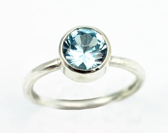 Aquamarine Ring - Silver Engagement Ring - Birthstone Ring - Faceted Blue Aquamarine - March birthstone - 8mm Stone - Imitation Stone R4045