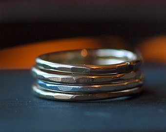 Stacking Rings - Thin Rings - Skinny Rings - Gold and Silver Rings - Mixed Metal Rings - Stacking Ring Set - Recycled EcoFriendly Metal