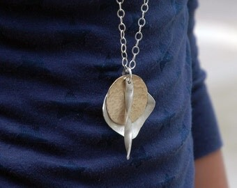 Statement Necklace  - LONG Necklace Pendant - EcoFriendly Silver - Long Silver Necklace - Long Gold Necklace - Layered Necklace - N2006