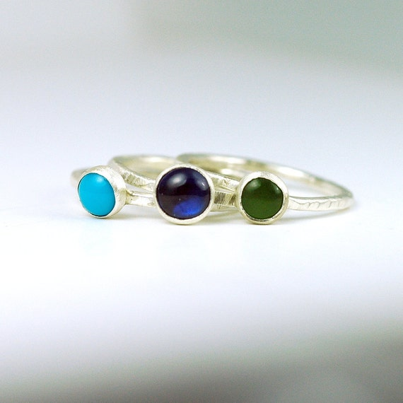 Three Gemstone Stacking Set - size 6.25 - Blue Green Turquoise RIngs in Sterling Silver - CLEARANCE SALE