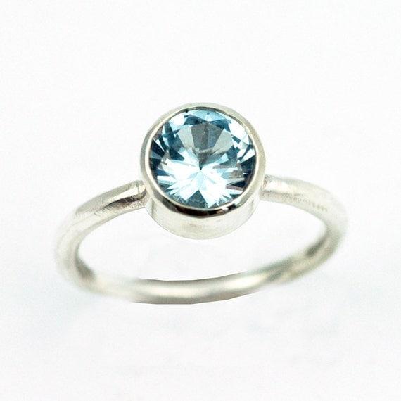 Aquamarine Ring - Silver Engagement Ring - Birthstone Ring - Faceted Blue Aquamarine - March birthstone - 8mm Stone - Imitation Stone R4045