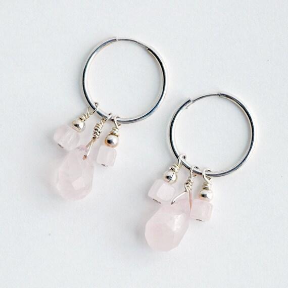 Pink Cluster Earrings on Hoops - Gemstones - Recycled Sterling Silver CLEARANCE
