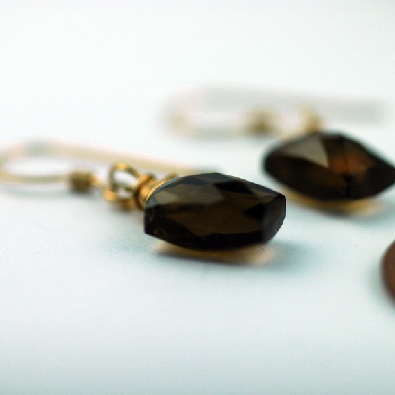 Gold and Brown Topaz Earrings - Unique side drilled stone - 14 karat gold vermeil -  CLEARANCE