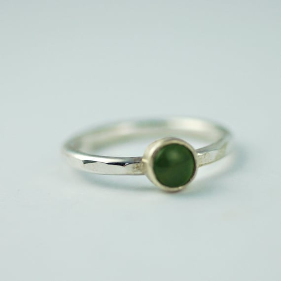 Green Jade Stacking Ring in Eco Friendly Sterling silver - simple and pretty ring - Size 6 - CLEARANCE