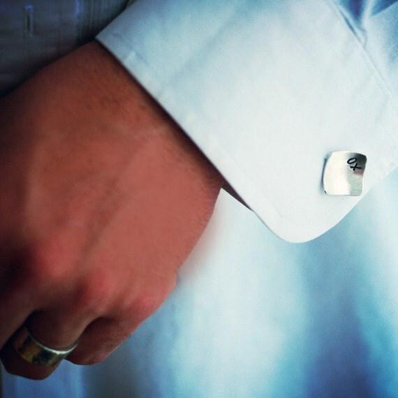 Silver Square Cufflinks for Him - Anniversary - Wedding - Groom Gift - Monogram - Custom Personalized - XO Love Gift