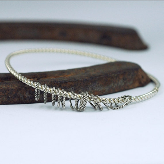Silver Bangle Bracelet - Stacking Bracelet  - Recycled and EcoFriendly Sterling Silver - Rustic and Oxidized - Unique Design - Cowgirl Edgy