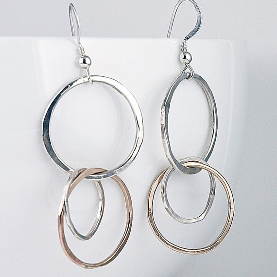 Silver and Gold Mixed Metal Earrings - Dangle Earrings - Eco Friendly Metal - Elegant and Awesome everyday jewelry