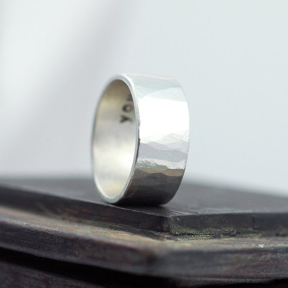 Hammered Silver Ring - Distressed Band Wedding Ring - Wedding Band - Mens Wedding Ring - 10mm wide - Mens Rustic Wedding Ring R4049