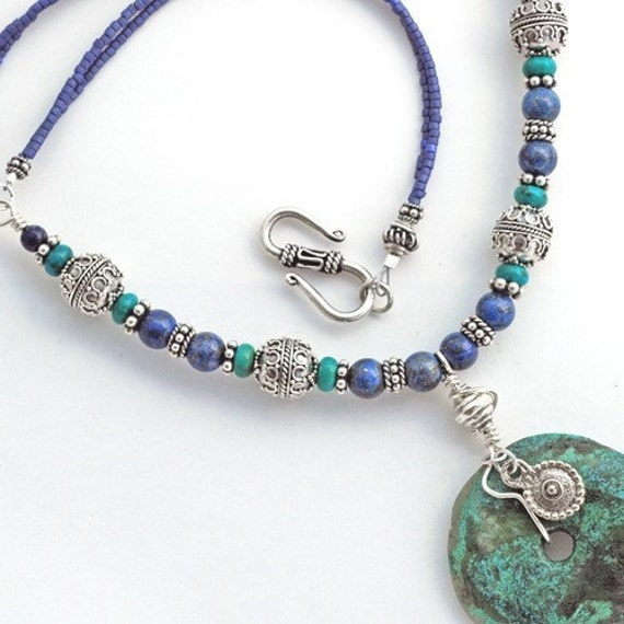 Turquoise Pendant Necklace with Lapis and Recycled Sterling Silver - designed for a Museum Exhibit - CLEARANCE