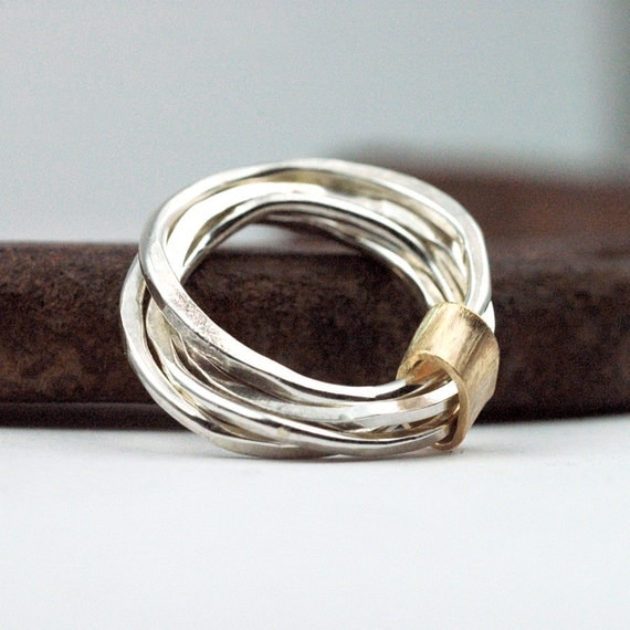 Stacking Rings Set - Sterling Silver - 14 karat Gold Band - Mixed Metal Eco-Friendly Metal - four hammered bands - LUXE feminine unique gift