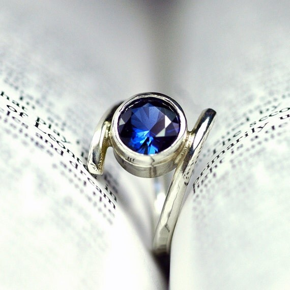 Blue Sapphire Engagement Ring Recycled Sterling Silver