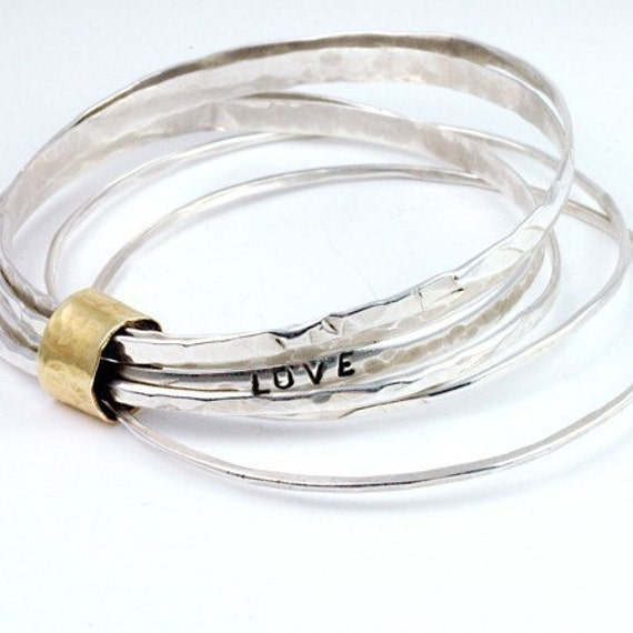 Stacking Bangle Bracelet - Silver Bangles - Stacking Bracelets - Stacking Bracelets - Luxe Jewelry - Bracelet Set - Gift for Her  B1036