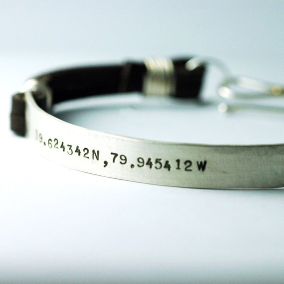 Custom Coordinates Bracelet - Engraved Bracelet - Personalized Leather Bracelet - Leather Mens Bracelet - Bracelet for Men - Boyfriend Gift