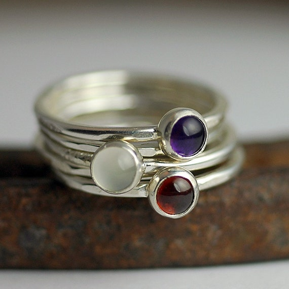 Stacking Rings - Personalized Mom RIngs - Custom Gemstone Rings - Birthstone Ring - Recycled Sterling Silver - Set of Five Rings