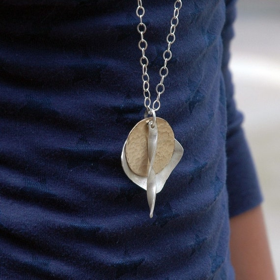 LONG Necklace - Mixed Metal - Fashion Jewelry - Recycled Silver and Gold Charms - Long Chain - Statement Necklace - Charm Necklace