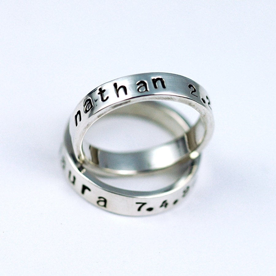 personalized ring stacking rings silver mothers ring