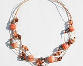 4 Strand Necklace in corals and taupe