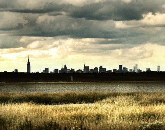 New York City Skyline Photograph, landscape photography, last minute gift, for him, office decor - The Apple by the Shore - Metallic