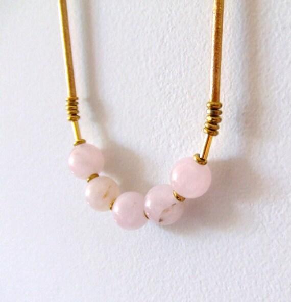 no. 431 - rose quartz and brass necklace