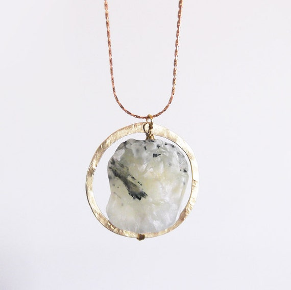 no. 472 - hammered brass and prehnite necklace