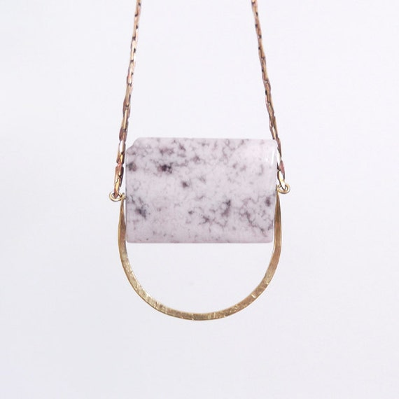 no. 487 - druzy stone and hammered brass necklace