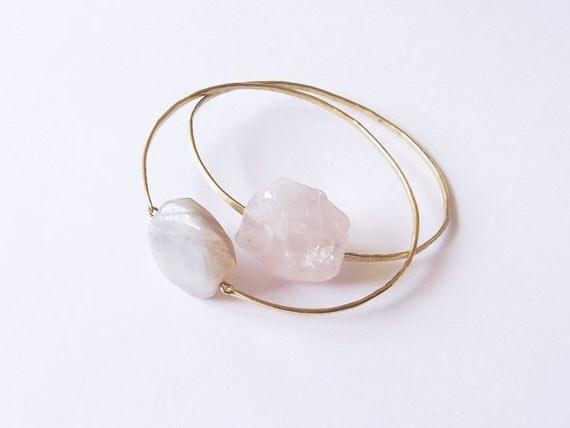 no. 491 - rose quartz brass bangle