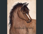 Bay Horse Original Watercolor Painting by Cheryl Weaver OFG Team