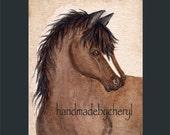 Bay Horse Original Watercolor Painting by Cheryl Weaver OFG Team
