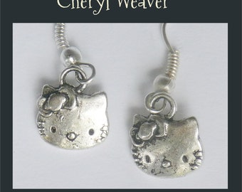 Cat Face Earrings -Tibetan Silver- for Pierced Ears Handmade by Cheryl Weaver