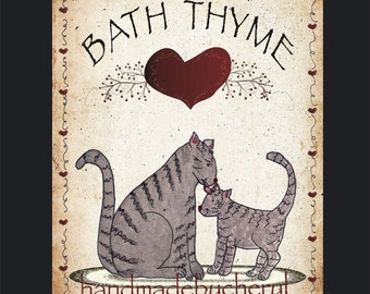 Primitive Bath Thyme Cat Print of an original Primitive Folk Art Country Decor 8 by 10