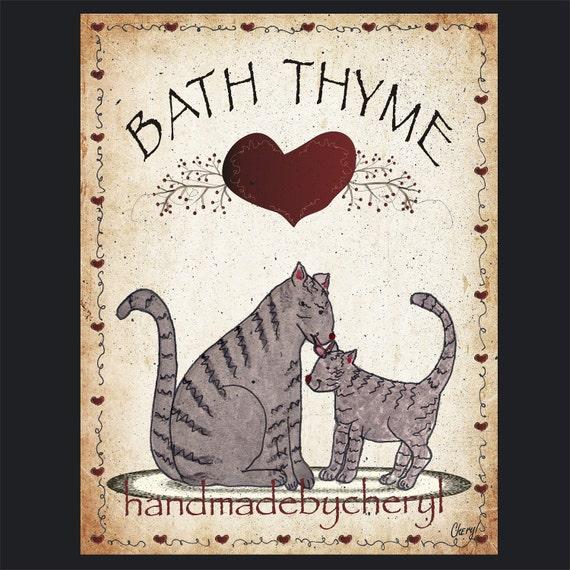 Primitive bath thyme cat print of an original primitive folk