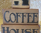 Primitive Kitchen Decor - Coffee House Primitive Handpainted Wood Shelf Stacker Blocks 3 Pieces