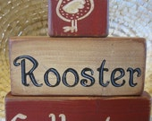 Rooster Collector Primitive Shelf Stacker Blocks 3 Pieces