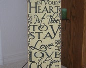 Love in your Heart Vertical Sentiments Upright Primitive Country Wood Sign Newlywed Anniversary Gift