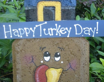 Yard Art, Garden Decor, Garden Decoration, Outdoor Decor, Turkey Happy Turkey Day Patio Person Thanksgiving Garden Art Gift