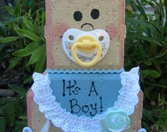 Yard Art, Garden Decor, Garden Decoration, Outdoor Decor, Baby Boy Patio Person Baby Shower Weather Resistant Painted Concrete Paver
