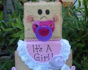 Yard Art, Garden Decor, Garden Decoration, Outdoor Decor, Baby Girl Patio Person Baby Shower Weather Resistant Painted Concrete Paver