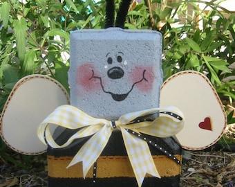 Yard Art, Garden Decor, Garden Decoration, Outdoor Decor, Buzz Bee Patio Person Weather Resistant Painted Concrete Paver