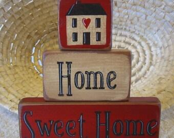 Country Decor, Shelf Sitter, Wood Shelf Stacker Blocks Primitive Home Decor  - Home Sweet Home Saltbox Decor