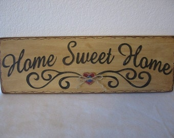 Housewarming gift, Wedding Gift, New Home Gift, Mother's Day Gift,Primitive Wood Sign - Home Sweet Home Handpainted Rustic Wood Sign