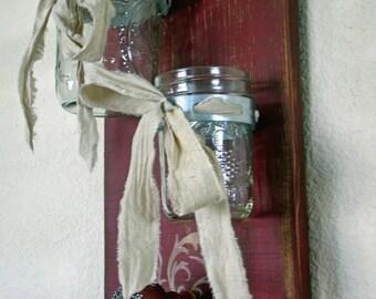 Mason Jar Decor, Farmhouse Decor, Mason Jar Wall Decor, Mason Jar Wall Sconce, Double Mason Jar Wall Vase-Barn Red Mason Jar and Peg