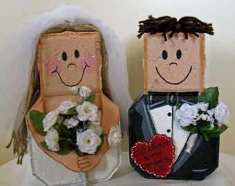 Yard Art, Garden Decor, Garden Decoration, Outdoor Decor, Wedding Gift-Bride and Groom Patio People-Personalized with your details