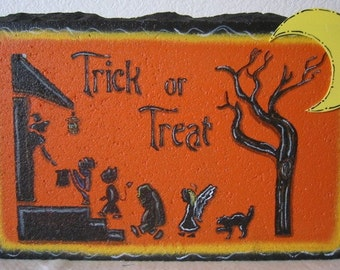 Outdoor Decor-Trick or Treat 12x8 Rectangular Halloween Expression Stone